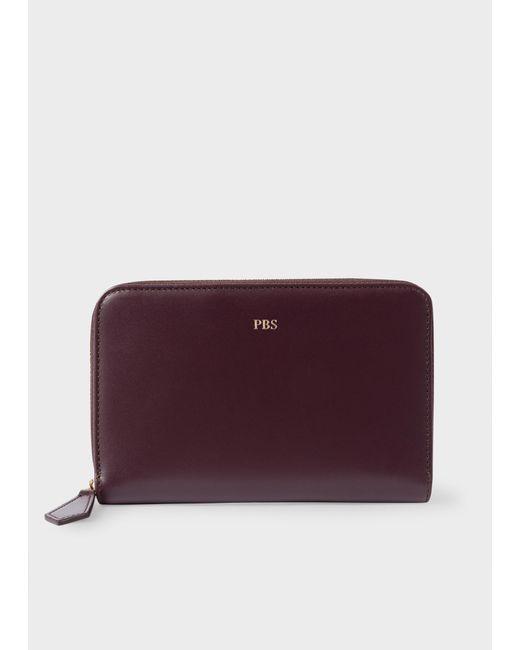 Paul Smith - Purple Women's Medium Damson Leather Monogrammed Zip-around Purse - Lyst