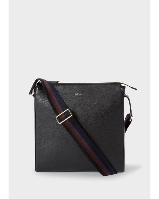 Paul Smith | Men's Black Leather 'city Webbing' Small Cross-body Bag for Men | Lyst