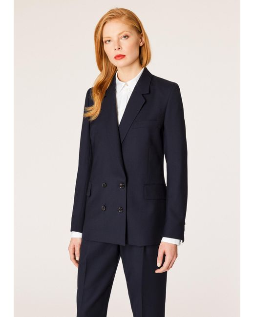 Paul Smith - Blue A Suit To Travel In - Dark Navy Wool Double-breasted Blazer - Lyst