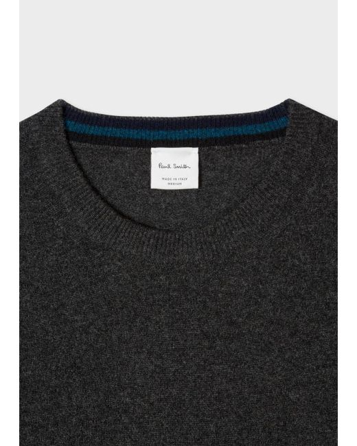 Paul smith Men's Charcoal Grey Cashmere Sweater in Gray for Men | Lyst