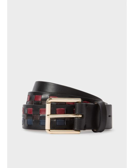 Paul Smith | Men's Black Woven Check Leather Belt for Men | Lyst