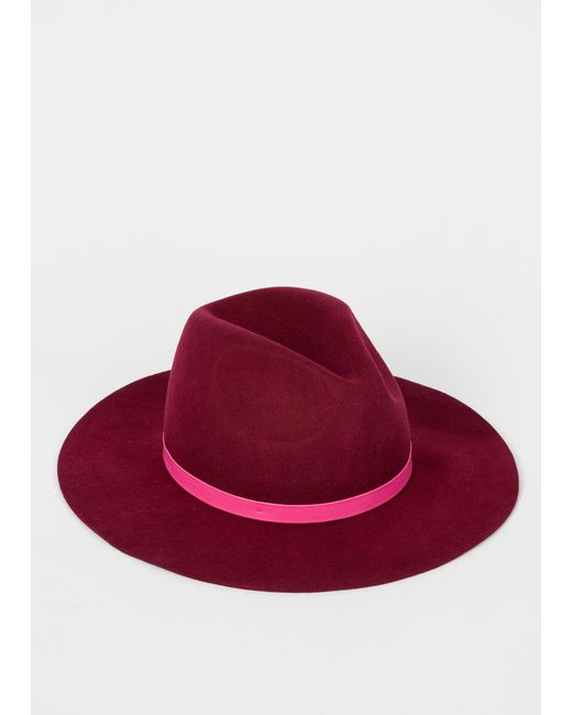 103d79c6210 ... Paul Smith - Multicolor Burgundy Wool Fedora Hat With 'Swirl' Lining ...
