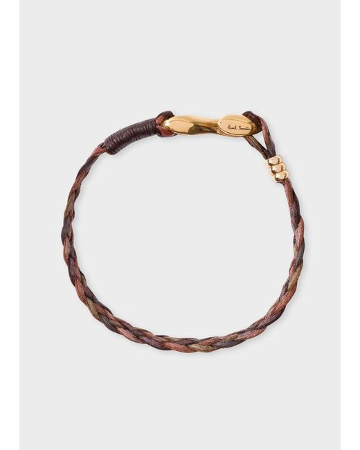 Paul Smith - Men's Brown Five-strand Plaited Leather Bracelet - Lyst