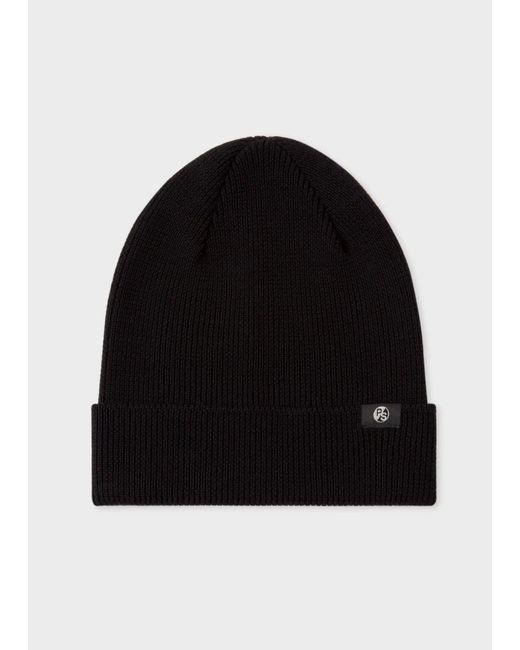 Paul Smith | Men's Black Merino Wool Beanie Hat for Men | Lyst