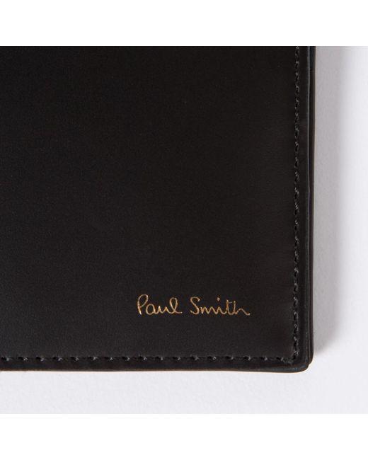 Paul Smith Men 39 S Black Leather Band Stripe Interior Billfold Wallet In Black For Men Lyst