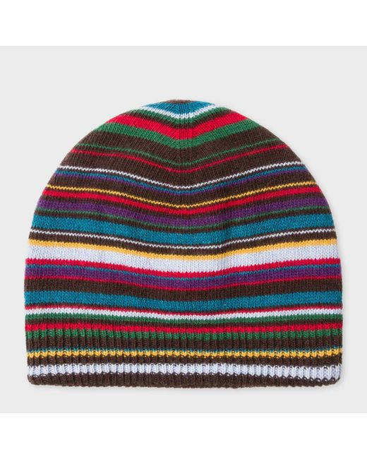 Paul Smith | Multicolor Men's Signature Stripe Wool-blend Beanie Hat for Men | Lyst