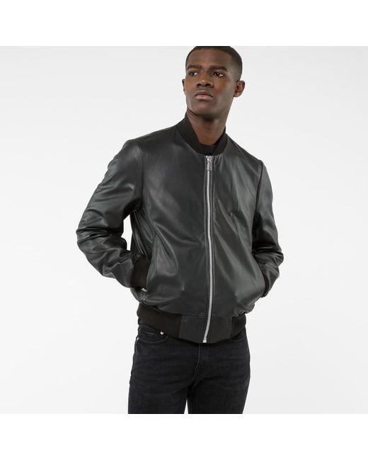 Paul Smith | Men's Black Leather Bomber Jacket for Men | Lyst