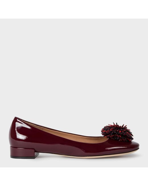 Paul Smith | Red Women's Bordeaux Patent Leather 'elise' Ballet Flats With Pom-poms | Lyst