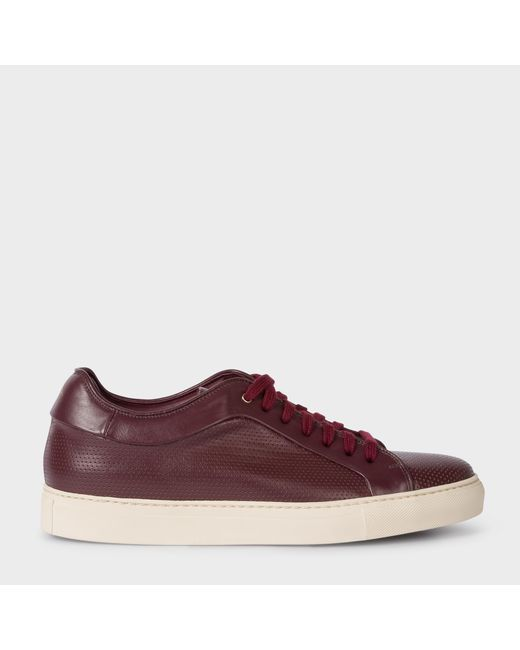 Paul Smith | Purple Men's Burgundy Perforated Leather 'basso' Trainers for Men | Lyst