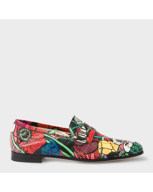Paul Smith | Multicolor Women's Leather 'glynn' Penny Loafers With 'wild Garden' Print | Lyst