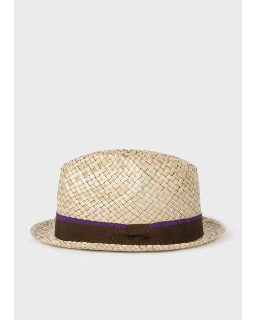 d4a7ae5806e Paul Smith - Natural Sand Woven Trilby Hat for Men - Lyst ...