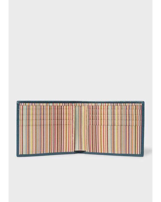 Paul Smith - Multicolor Teal Signature Stripe Interior Billfold Wallet for Men - Lyst