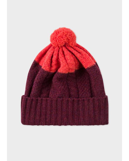 Paul Smith - Multicolor Burgundy Cable-Knit Wool Beanie Hat for Men - Lyst