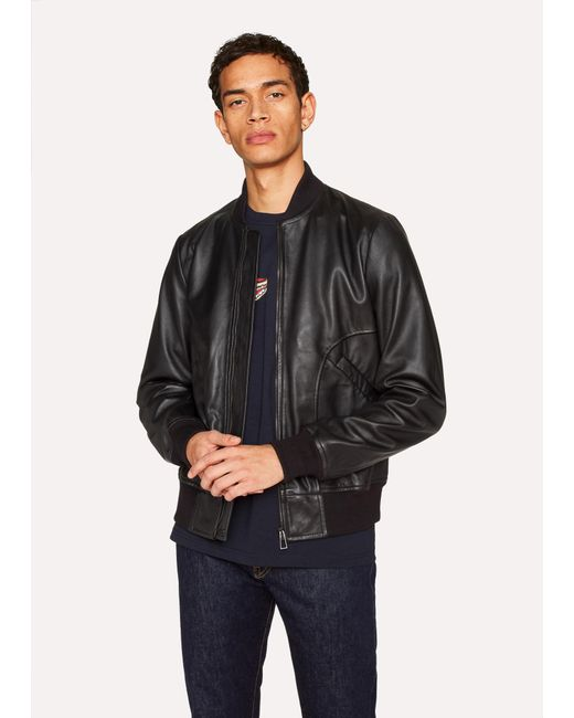 Paul Smith - Black Leather Bomber Jacket for Men - Lyst