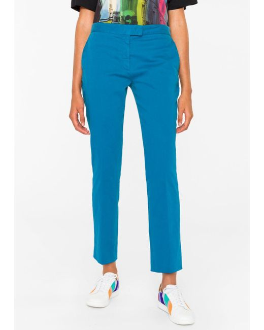 Paul Smith   Blue Women's Slim-fit Turquoise Stretch-cotton Chinos   Lyst