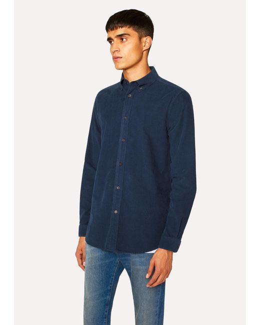 Paul Smith - Blue Tailored-fit Navy Corduroy Shirt for Men - Lyst