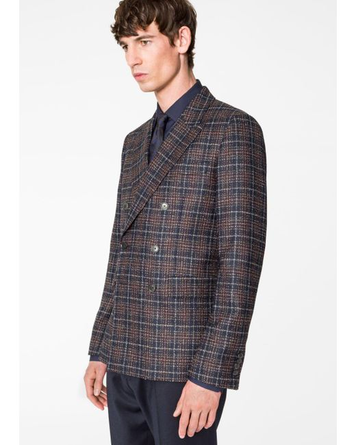 Paul Smith | Blue Men's Tailored-fit Navy And Burgundy Check Wool-blend Double Breasted Blazer for Men | Lyst