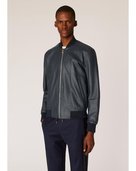 39707f129c49 Paul Smith - Blue Navy Leather Bomber Jacket for Men - Lyst ...