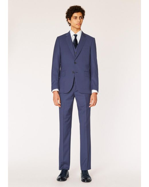 Paul Smith - Blue The Soho - Tailored-fit Navy Three-piece Puppytooth Wool Suit for Men - Lyst