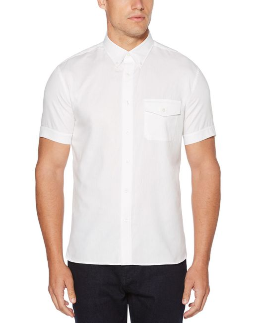 Perry Ellis - White Big And Tall Short Sleeve Double Front Pocket Shirt for Men - Lyst