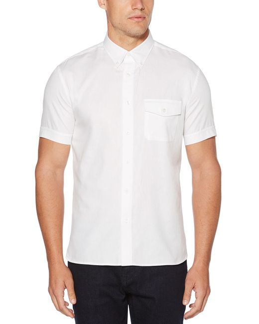 Perry Ellis | White Big And Tall Short Sleeve Double Front Pocket Shirt for Men | Lyst