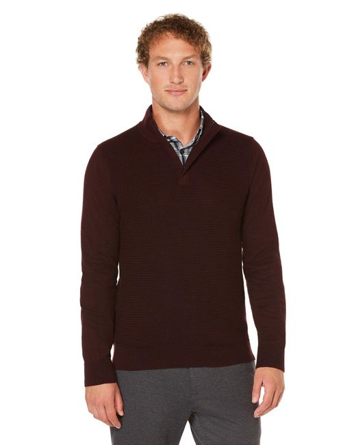 Perry Ellis | Brown Colorblock Quarter Zip Sweater for Men | Lyst
