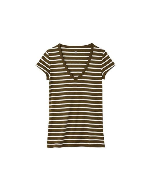 Petit Bateau | Natural Women's V-neck Tee In Sailor-striped Cotton | Lyst