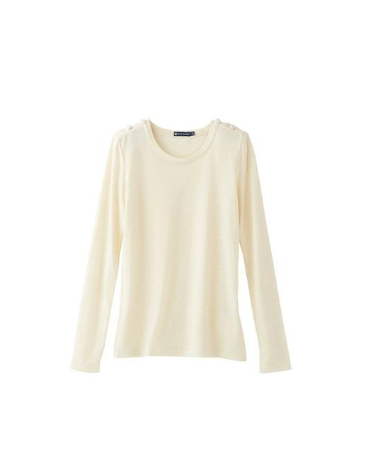 Petit Bateau   White Women's Long-sleeved Tee In Winter Cotton Jersey, Wool And Silk   Lyst