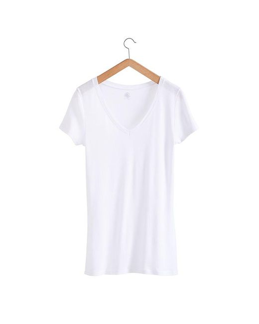 Petit Bateau   White Women's Light Cotton, V-neck Tee   Lyst