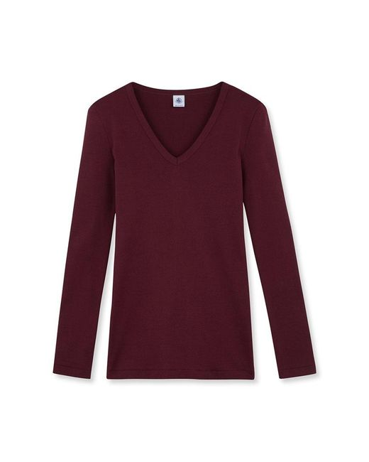 Petit Bateau   Red Women's Long-sleeved V-neck Tee   Lyst