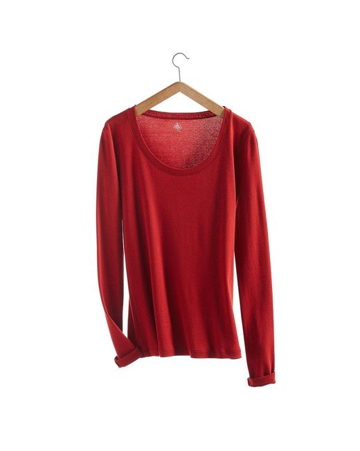 Petit Bateau | Red Women's Long-sleeved, Round Neck Tee In New Cotton | Lyst