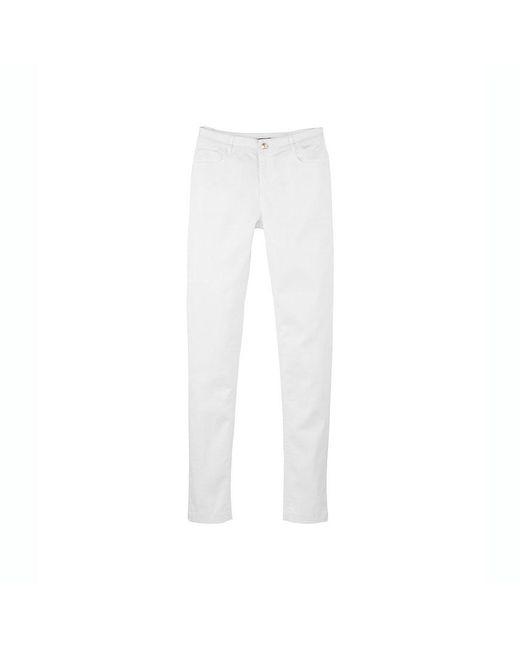 Petit Bateau   White Women's Slim 5-pocket Pants In Stretch Cotton Serge   Lyst