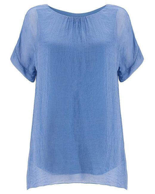 Phase Eight - Blue Elinor Dip Hem Silk Blouse - Lyst