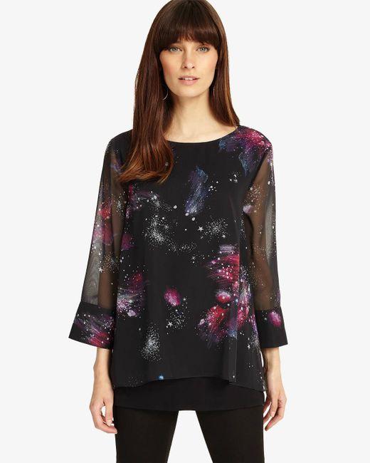 Phase Eight - Black Multi-coloured Shila Cosmo Print Blouse - Lyst