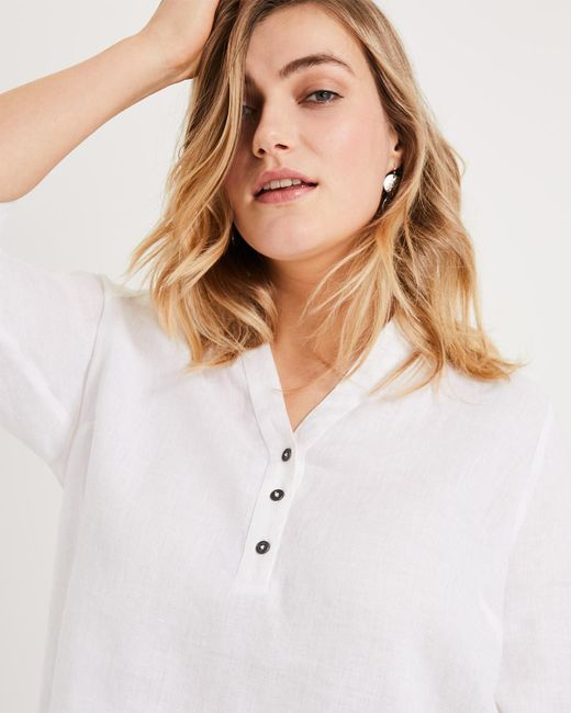 fa71d4d8 ... Phase Eight - White Haze Linen Longline Shirt - Lyst ...