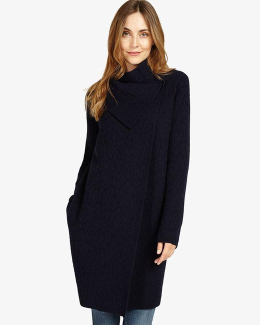 Phase Eight - Blue Belen Jacquard Knitted Coat - Lyst