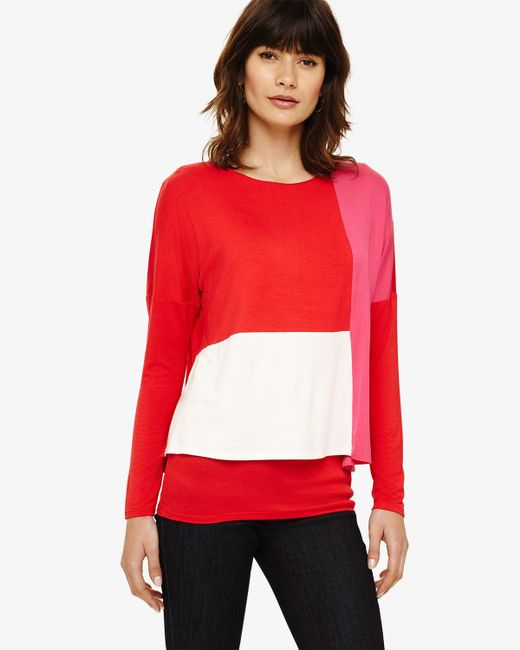 Phase Eight - Red And Multi Cacey Colourblock Top - Lyst
