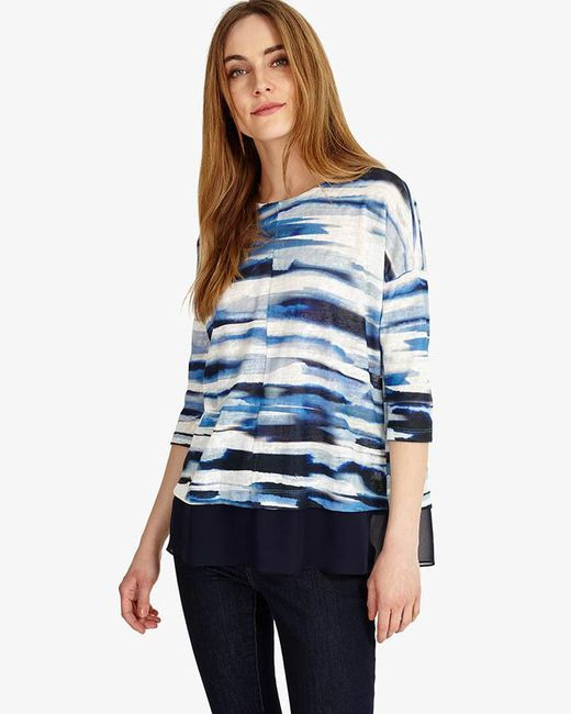 Phase Eight - Blue Patricia Painted Stripe Top - Lyst