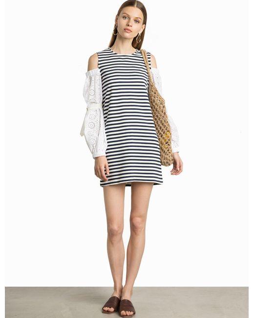 Pixie Market - Multicolor Capri Stripe Cotton Eyelet Sleeve Dress - Lyst