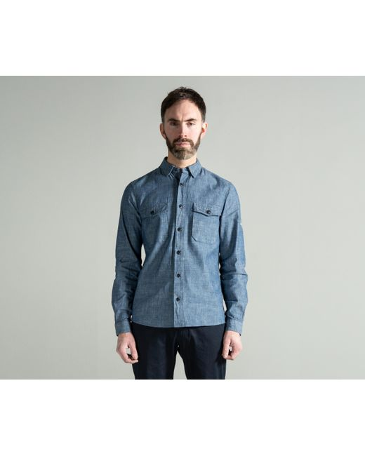 b9b85b51 ... Stone Island - Chambray Shirt Blue for Men - Lyst ...