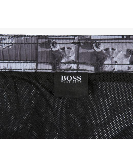 9749eca28b ... BOSS - 'springfish' Quick Dry Cuba Lifestyle Print Swim Shorts Black &  White for ...