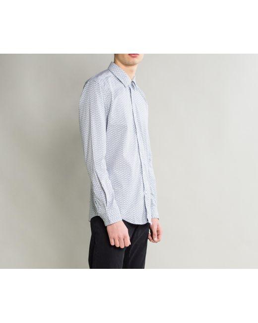 78160d75 ... BOSS - 'lukas-53' Coffee Bean Print Cotton Shirt White for Men ...