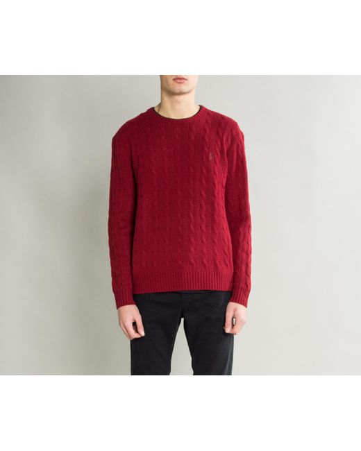 8aff4f44f18dd ... Polo Ralph Lauren - Crew Neck Cable Knit Holiday Red for Men - Lyst ...