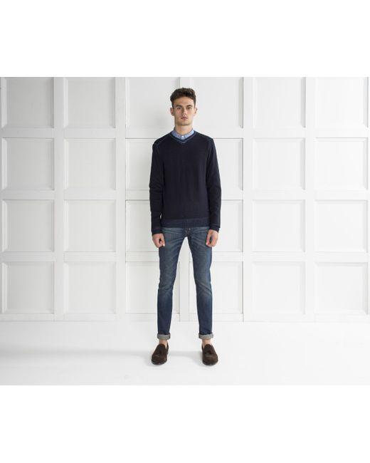 Armani Jeans - Blue V-neck Knit Dark Navy for Men - Lyst