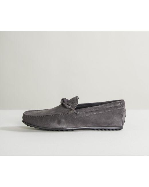 Tod's - City Gommino Suede Driving Shoes Ash Gray for Men - Lyst