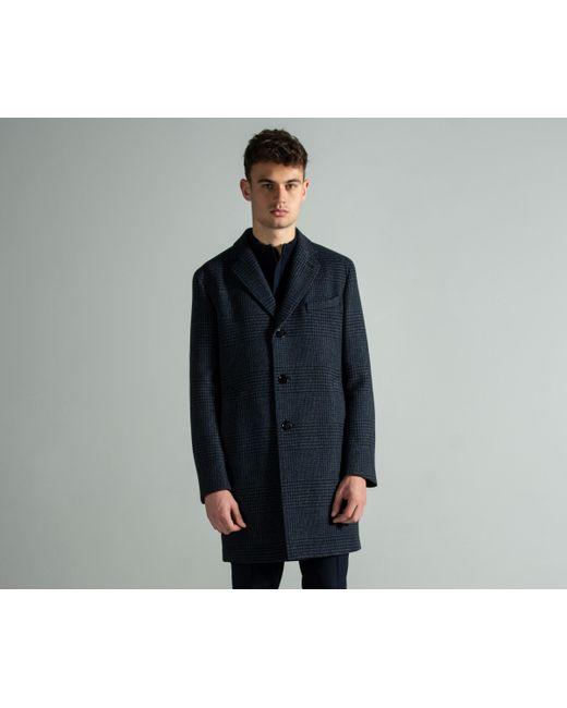 9bcdb0d0c2df BOSS 'shawn7' Check Virgin-wool Blend Overcoat Blue in Blue for Men ...