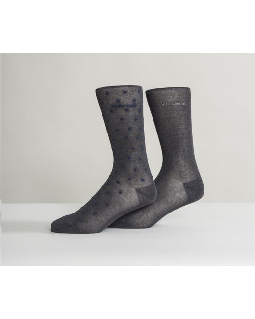BOSS - Gray Egyptian Cotton Spotted Sock Dark Grey/blue for Men - Lyst