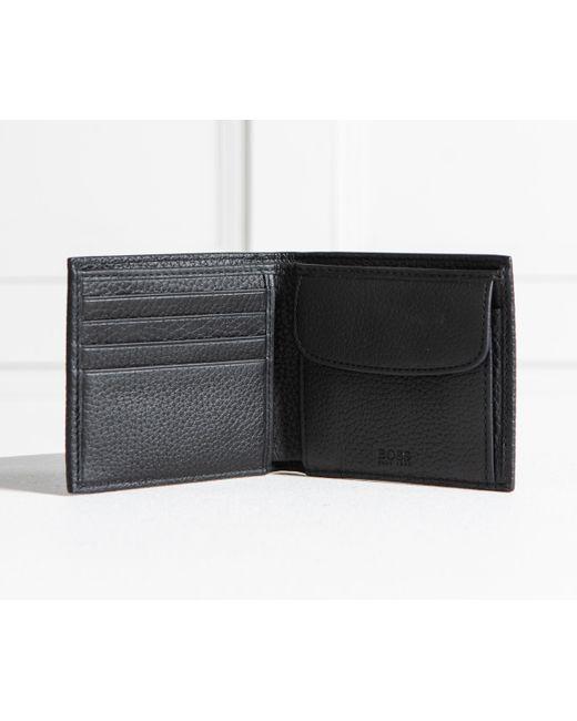 5d9929d053b ... BOSS - 'crosstown_8cc' 8-card Grained Leather Billfold Wallet Black for  Men ...