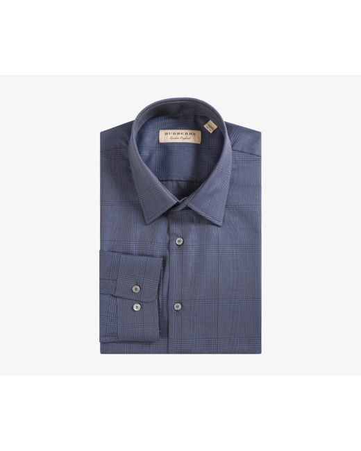 Burberry - Blue 'matlock' Slim Fit Fine Cotton Checked Shirt Bright Navy for Men - Lyst