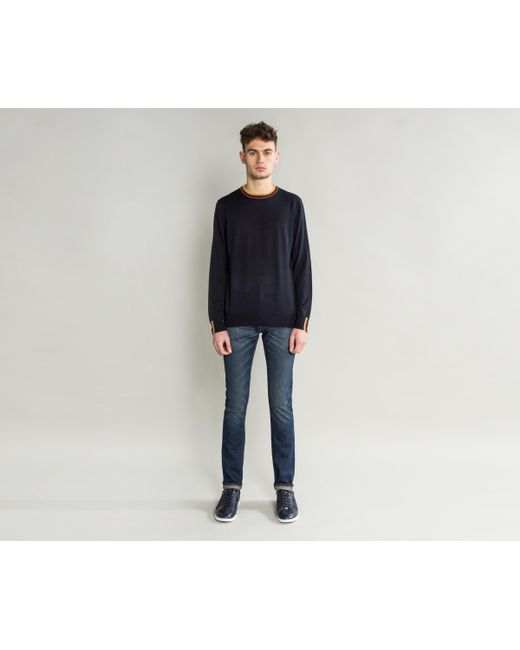 Paul Smith - Blue Merino Wool Knit With Multi Stripe Trim Navy for Men - Lyst